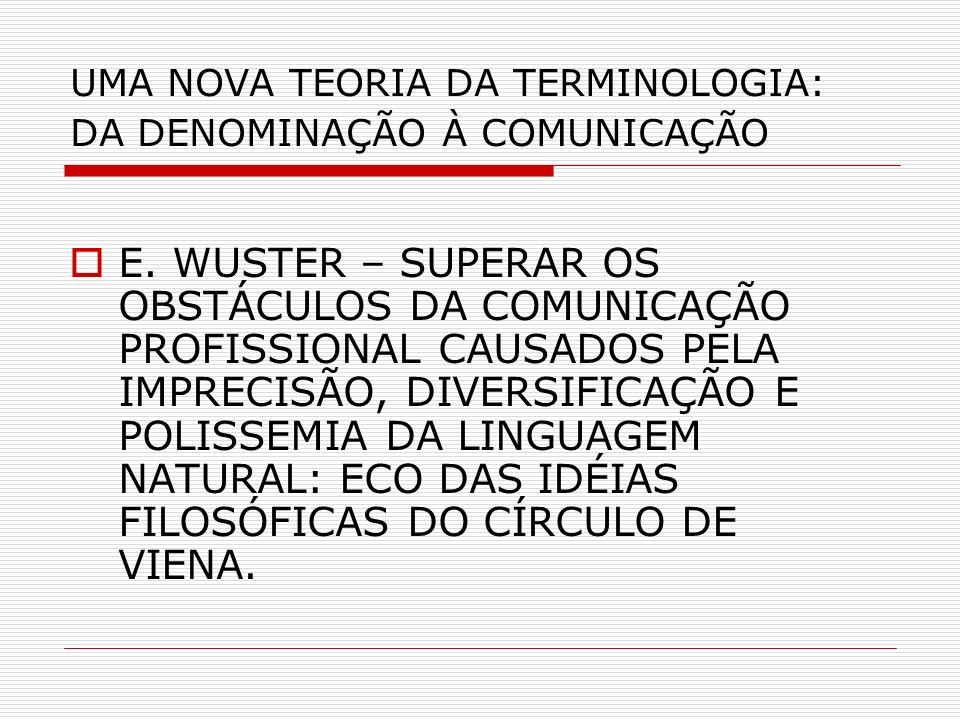 UMA NOVA TEORIA DA TERMINOLOGIA: DA DENOMINAÇÃO À COMUNICAÇÃO E.
