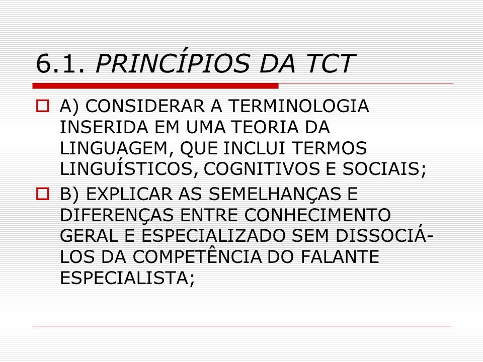 6.1. PRINCÍPIOS DA TCT A) CONSIDERAR A TERMINOLOGIA INSERIDA EM UMA TEORIA DA LINGUAGEM, QUE INCLUI TERMOS LINGUÍSTICOS, COGNITIVOS E SOCIAIS; B) EXPL