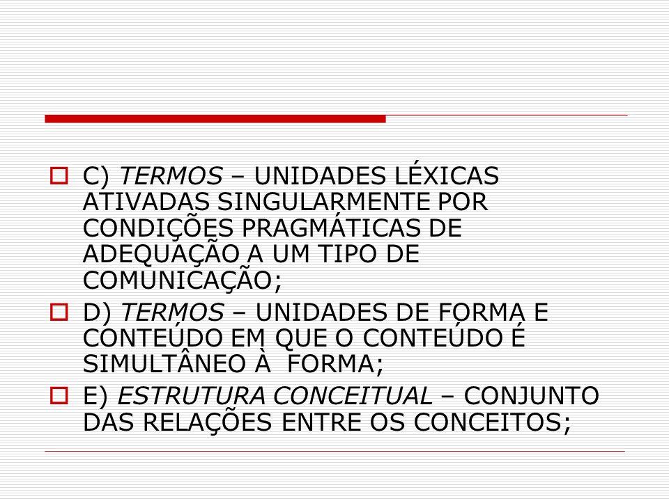 C) TERMOS – UNIDADES LÉXICAS ATIVADAS SINGULARMENTE POR CONDIÇÕES PRAGMÁTICAS DE ADEQUAÇÃO A UM TIPO DE COMUNICAÇÃO; D) TERMOS – UNIDADES DE FORMA E CONTEÚDO EM QUE O CONTEÚDO É SIMULTÂNEO À FORMA; E) ESTRUTURA CONCEITUAL – CONJUNTO DAS RELAÇÕES ENTRE OS CONCEITOS;