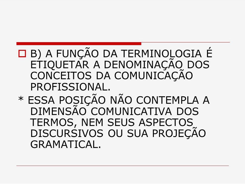 B) A FUNÇÃO DA TERMINOLOGIA É ETIQUETAR A DENOMINAÇÃO DOS CONCEITOS DA COMUNICAÇÃO PROFISSIONAL.