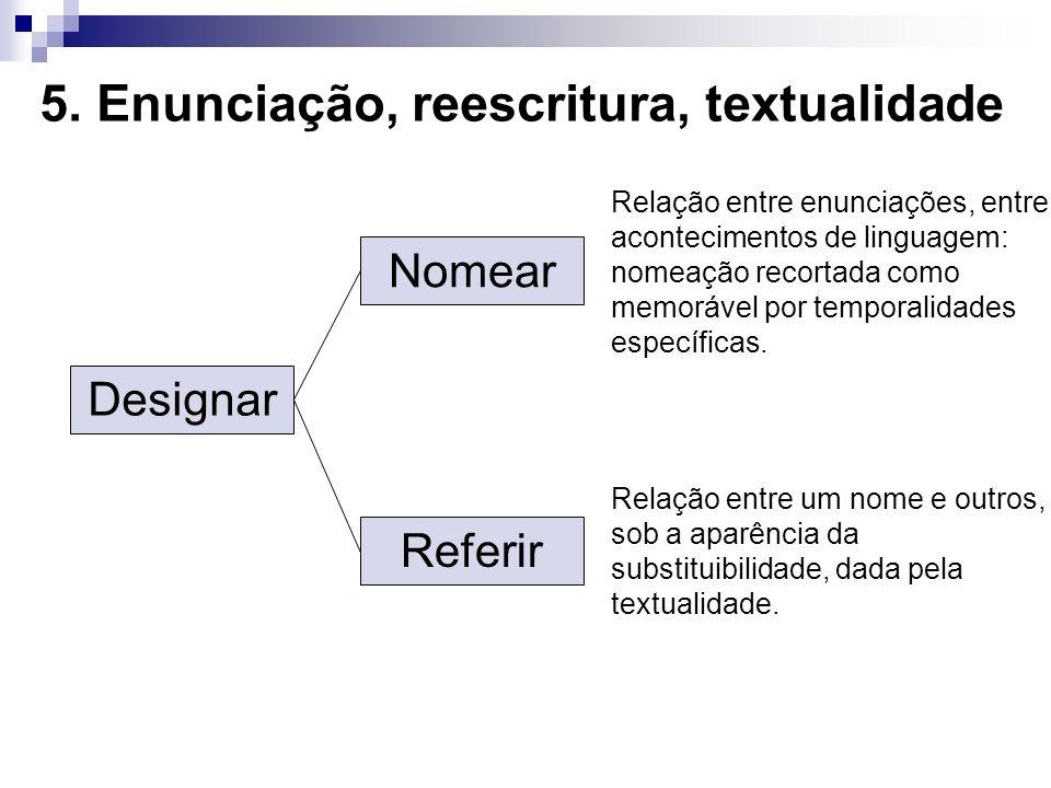 5. Enunciação, reescritura, textualidade Designar Referir Nomear Relação entre enunciações, entre acontecimentos de linguagem: nomeação recortada como