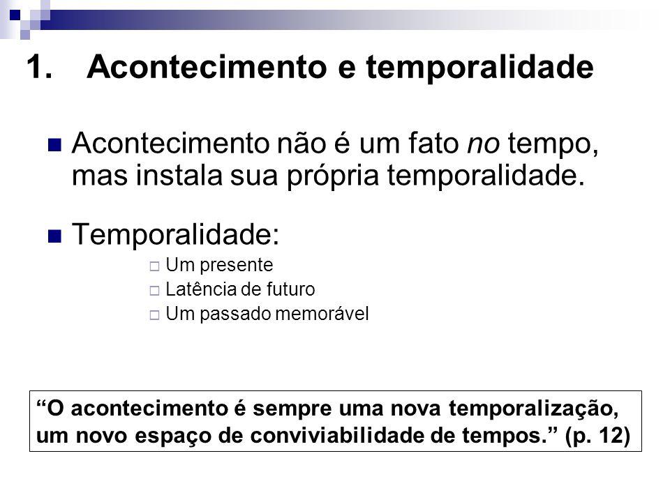 1.Acontecimento e temporalidade Acontecimento não é um fato no tempo, mas instala sua própria temporalidade. Temporalidade: Um presente Latência de fu