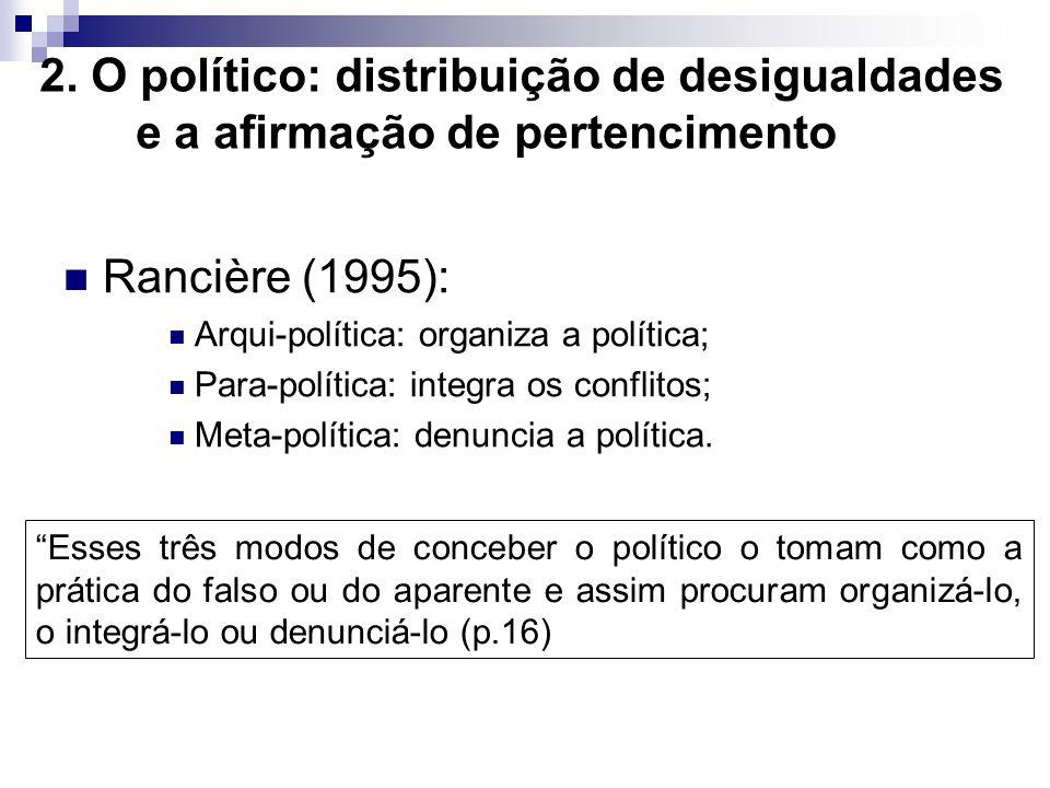 2. O político: distribuição de desigualdades e a afirmação de pertencimento Rancière (1995): Arqui-política: organiza a política; Para-política: integ