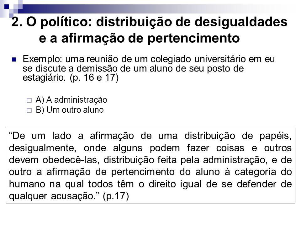 2. O político: distribuição de desigualdades e a afirmação de pertencimento Exemplo: uma reunião de um colegiado universitário em eu se discute a demi