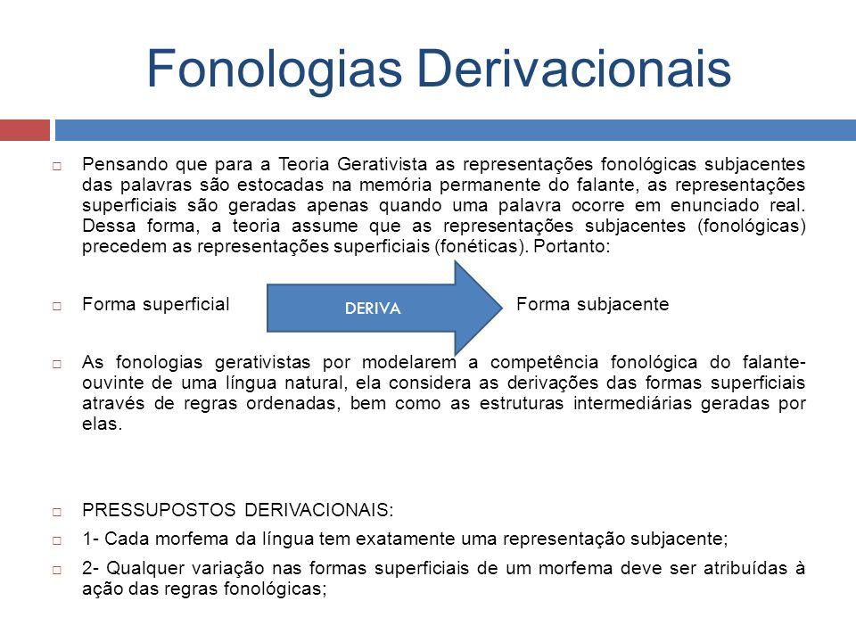 Fonologias Derivacionais Pensando que para a Teoria Gerativista as representações fonológicas subjacentes das palavras são estocadas na memória perman