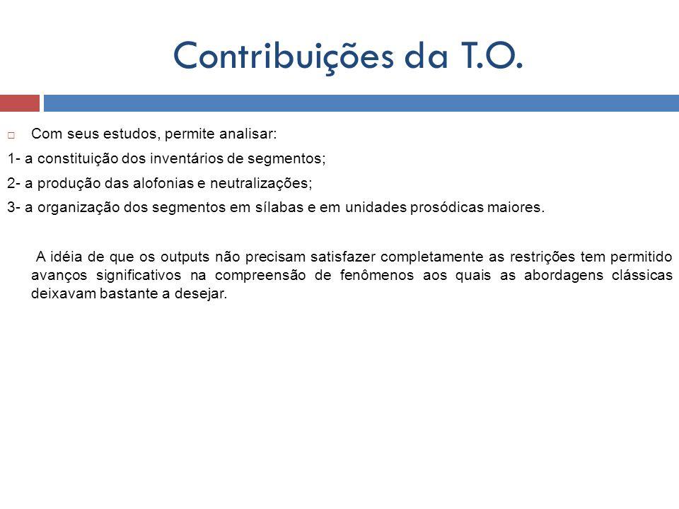 Contribuições da T.O. Com seus estudos, permite analisar: 1- a constituição dos inventários de segmentos; 2- a produção das alofonias e neutralizações