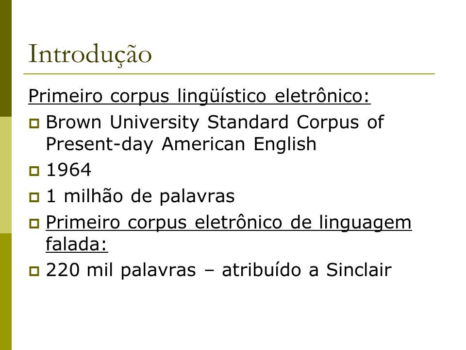 Introdução Primeiro corpus lingüístico eletrônico: Brown University Standard Corpus of Present-day American English 1964 1 milhão de palavras Primeiro