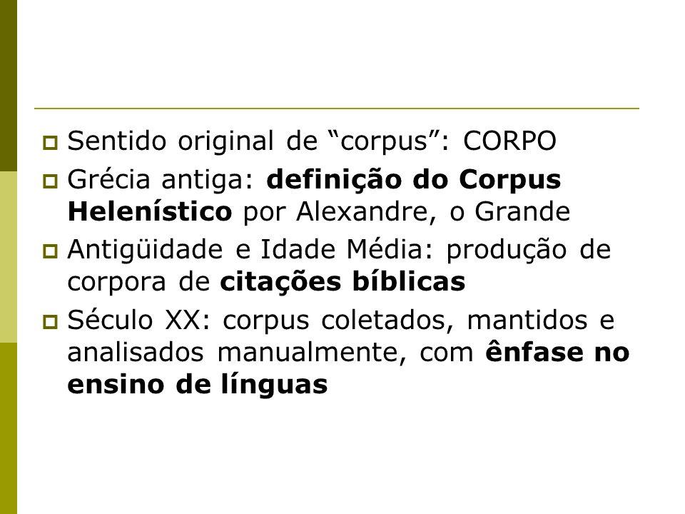 Sentido original de corpus: CORPO Grécia antiga: definição do Corpus Helenístico por Alexandre, o Grande Antigüidade e Idade Média: produção de corpor