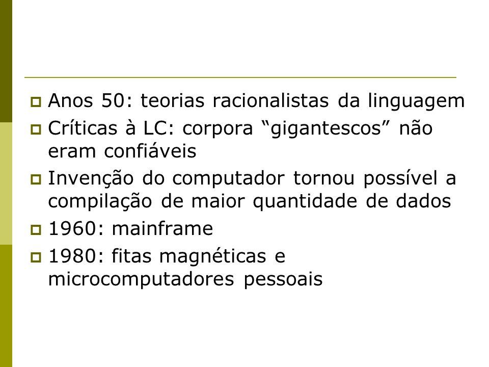 Anos 50: teorias racionalistas da linguagem Críticas à LC: corpora gigantescos não eram confiáveis Invenção do computador tornou possível a compilação