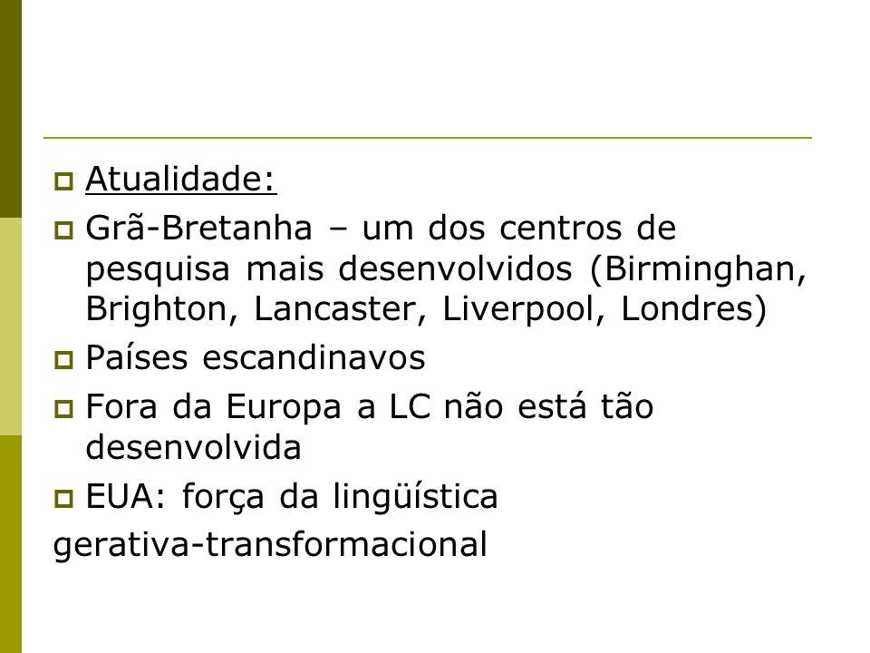 EUA: desenvolvimento avançado na pesquisa em Processamento de Linguagem Natural (PLN) Brasil: estágios iniciais voltados à PLN e à Lingüística Compuatacional Parcerias entre empresas (finalidades comerciais) e universidades: pesquisas em LC ligadas à editoras Pioneiro: Cobuild – Universidade de Birmingham com a editora Collins
