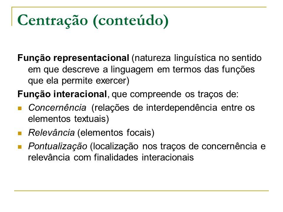 Centração (conteúdo) Função representacional (natureza linguística no sentido em que descreve a linguagem em termos das funções que ela permite exerce
