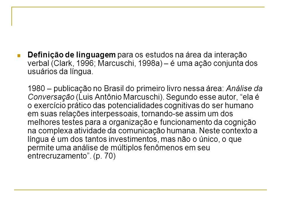 Definição de linguagem para os estudos na área da interação verbal (Clark, 1996; Marcuschi, 1998a) – é uma ação conjunta dos usuários da língua. 1980