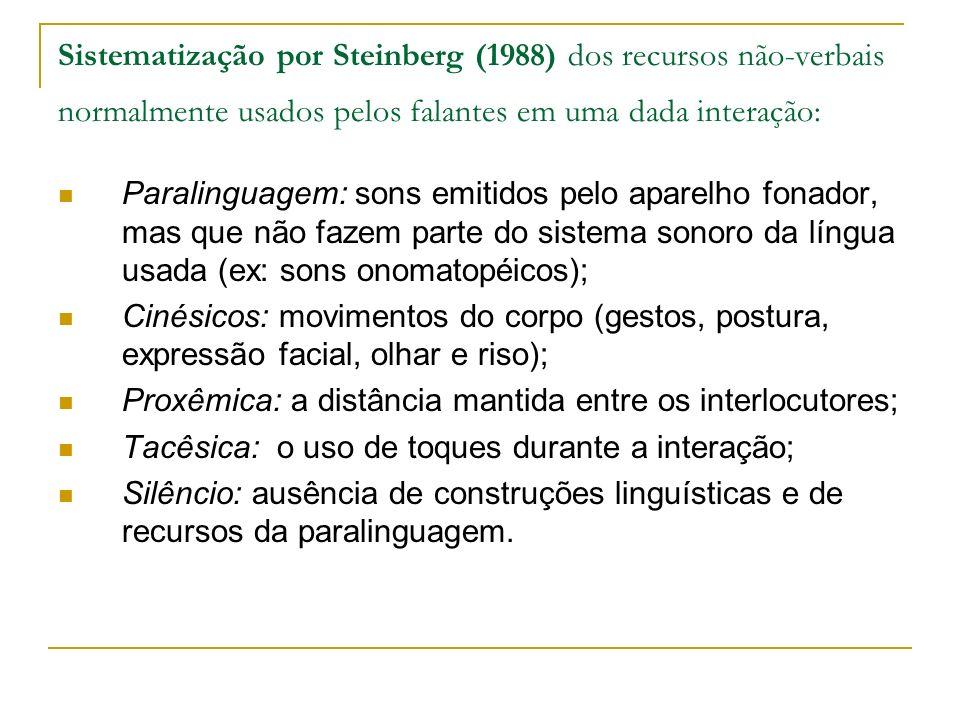 Sistematização por Steinberg (1988) dos recursos não-verbais normalmente usados pelos falantes em uma dada interação: Paralinguagem: sons emitidos pel