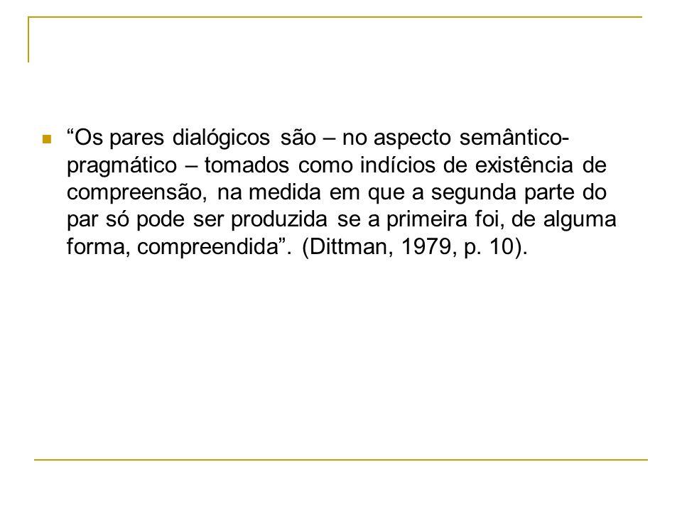 Os pares dialógicos são – no aspecto semântico- pragmático – tomados como indícios de existência de compreensão, na medida em que a segunda parte do p