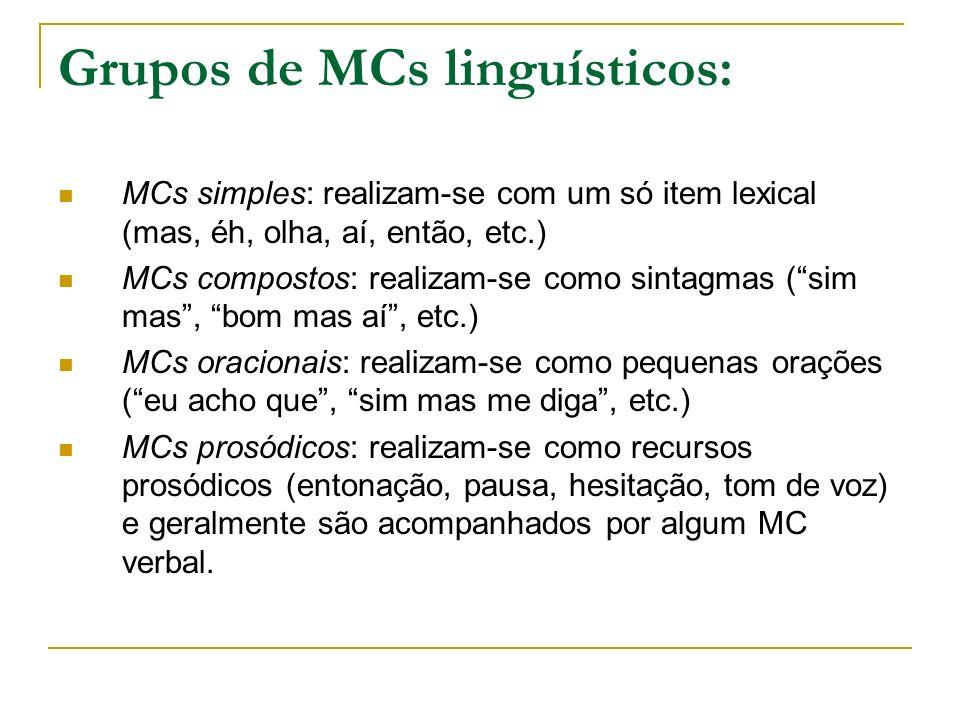 Grupos de MCs linguísticos: MCs simples: realizam-se com um só item lexical (mas, éh, olha, aí, então, etc.) MCs compostos: realizam-se como sintagmas