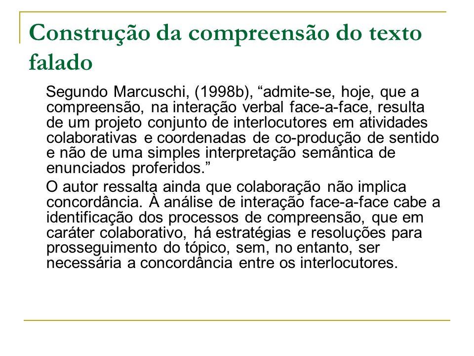 Construção da compreensão do texto falado Segundo Marcuschi, (1998b), admite-se, hoje, que a compreensão, na interação verbal face-a-face, resulta de