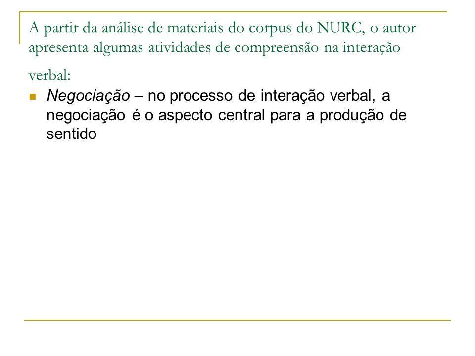 A partir da análise de materiais do corpus do NURC, o autor apresenta algumas atividades de compreensão na interação verbal: Negociação – no processo