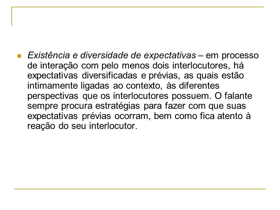 Existência e diversidade de expectativas – em processo de interação com pelo menos dois interlocutores, há expectativas diversificadas e prévias, as q