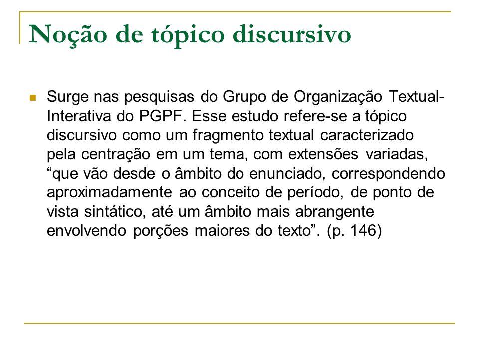 A noção de tópico discursivo é entendida, a partir dos estudos, como categoria analítica abstrata, com base nas propriedades tópicas especificadas no próximo item do discurso para recortar segmentos textuais e descrever a organização tópica de um texto.