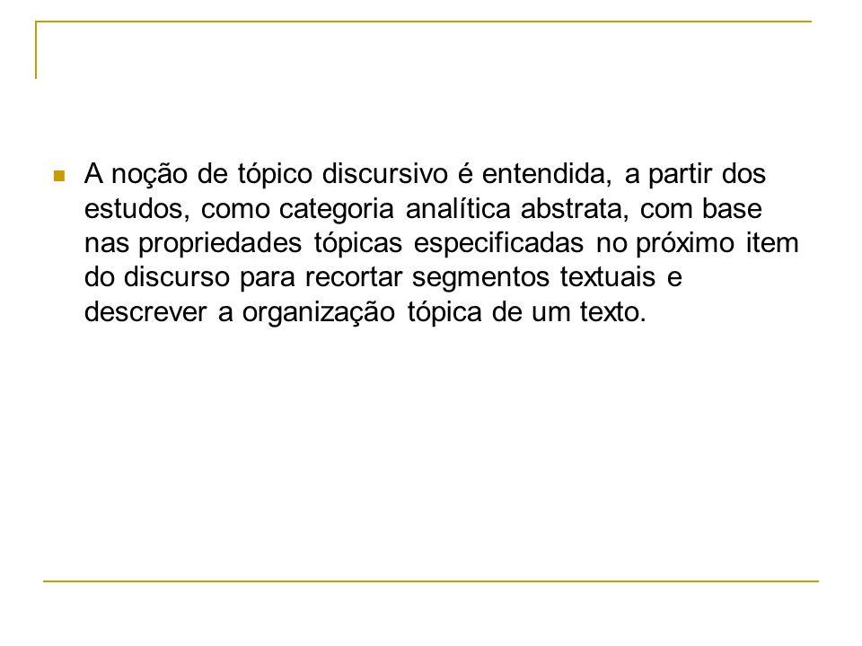Propriedades básicas da organização tópica enfoque pragmático da linguagem pesquisas do Grupo de Organização Textual-Interativa para elaboração de uma Gramática do Português Falado visando à formulação de categorias de estatuto textual não previstas na descrição gramatical que recorta a frase como unidade de análise