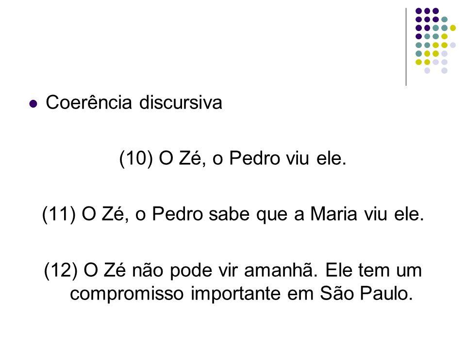 Coerência discursiva (10) O Zé, o Pedro viu ele.(11) O Zé, o Pedro sabe que a Maria viu ele.