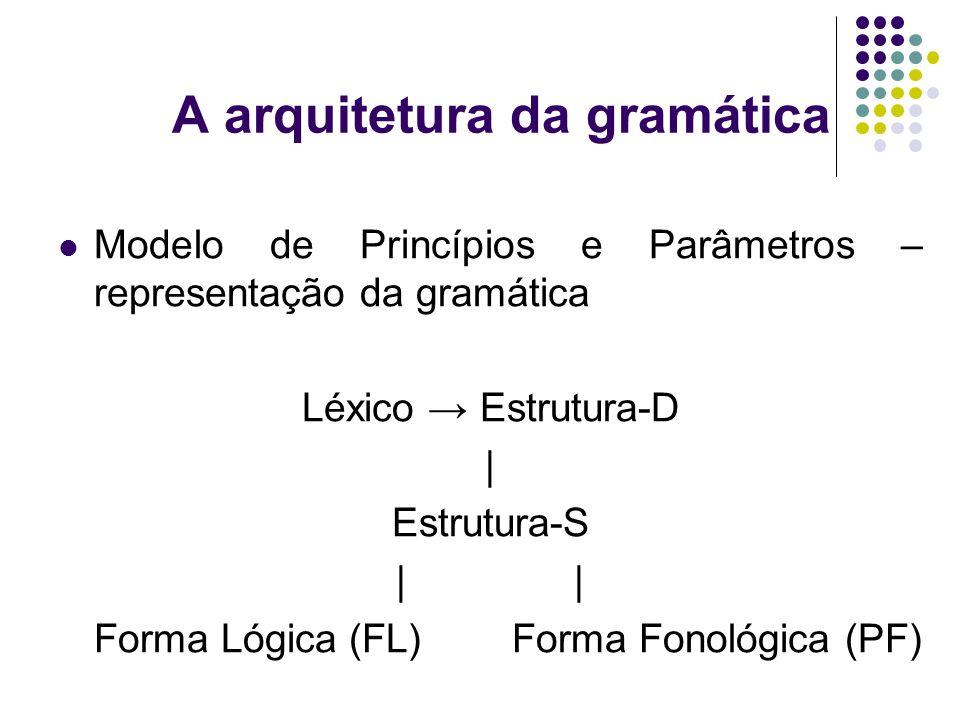 A arquitetura da gramática Modelo de Princípios e Parâmetros – representação da gramática Léxico Estrutura-D | Estrutura-S | Forma Lógica (FL) Forma Fonológica (PF)