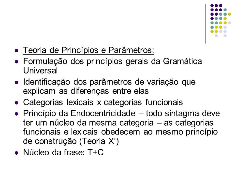 Teoria de Princípios e Parâmetros: Formulação dos princípios gerais da Gramática Universal Identificação dos parâmetros de variação que explicam as diferenças entre elas Categorias lexicais x categorias funcionais Princípio da Endocentricidade – todo sintagma deve ter um núcleo da mesma categoria – as categorias funcionais e lexicais obedecem ao mesmo princípio de construção (Teoria X) Núcleo da frase: T+C