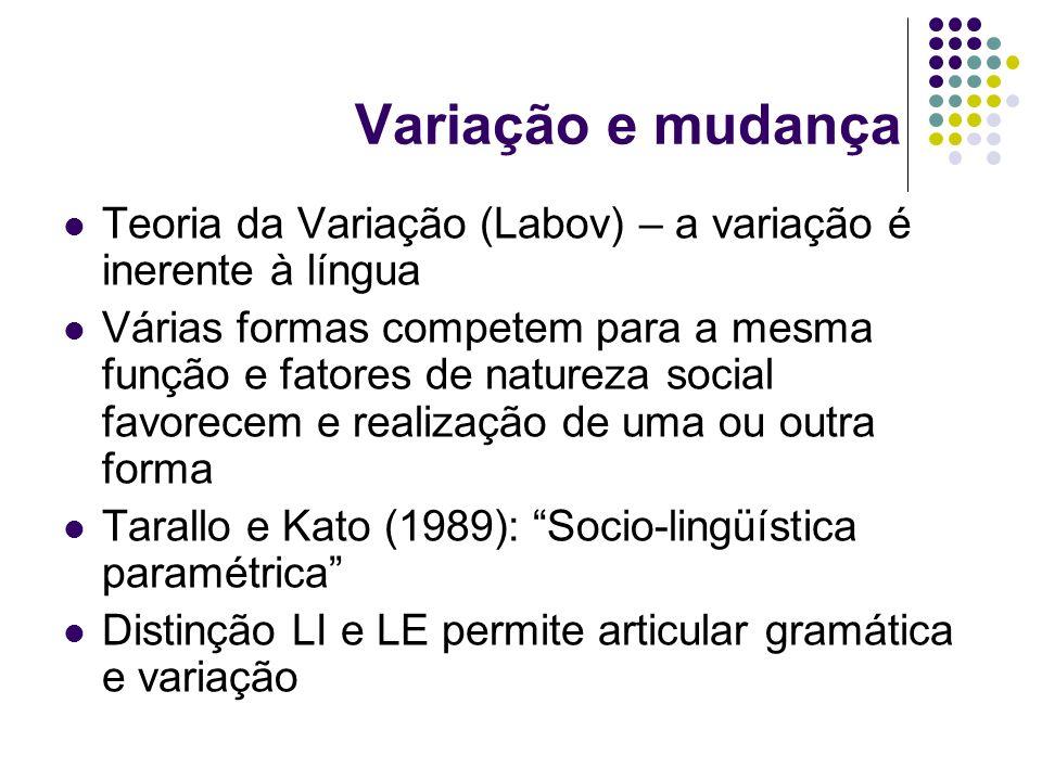 Variação e mudança Teoria da Variação (Labov) – a variação é inerente à língua Várias formas competem para a mesma função e fatores de natureza social favorecem e realização de uma ou outra forma Tarallo e Kato (1989): Socio-lingüística paramétrica Distinção LI e LE permite articular gramática e variação