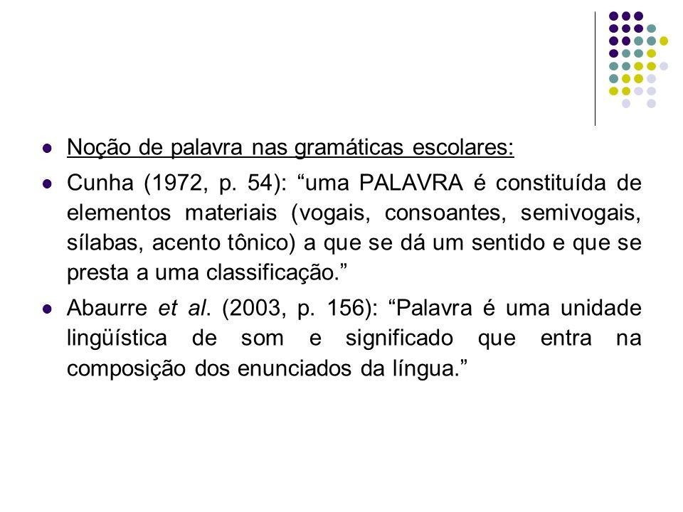 Noção de palavra nas gramáticas escolares: Cunha (1972, p.