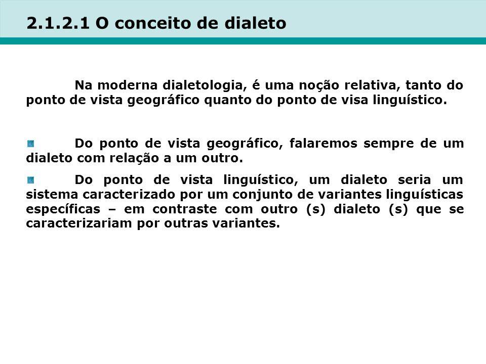 2.1.2.1 O conceito de dialeto Na moderna dialetologia, é uma noção relativa, tanto do ponto de vista geográfico quanto do ponto de visa linguístico.