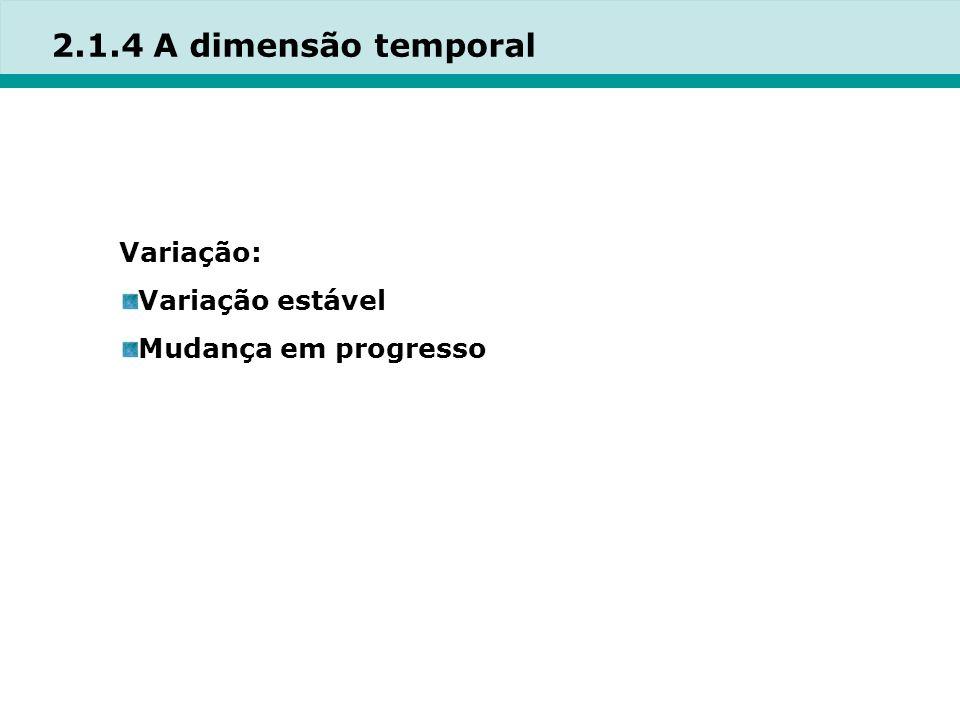 2.1.4 A dimensão temporal Variação: Variação estável Mudança em progresso