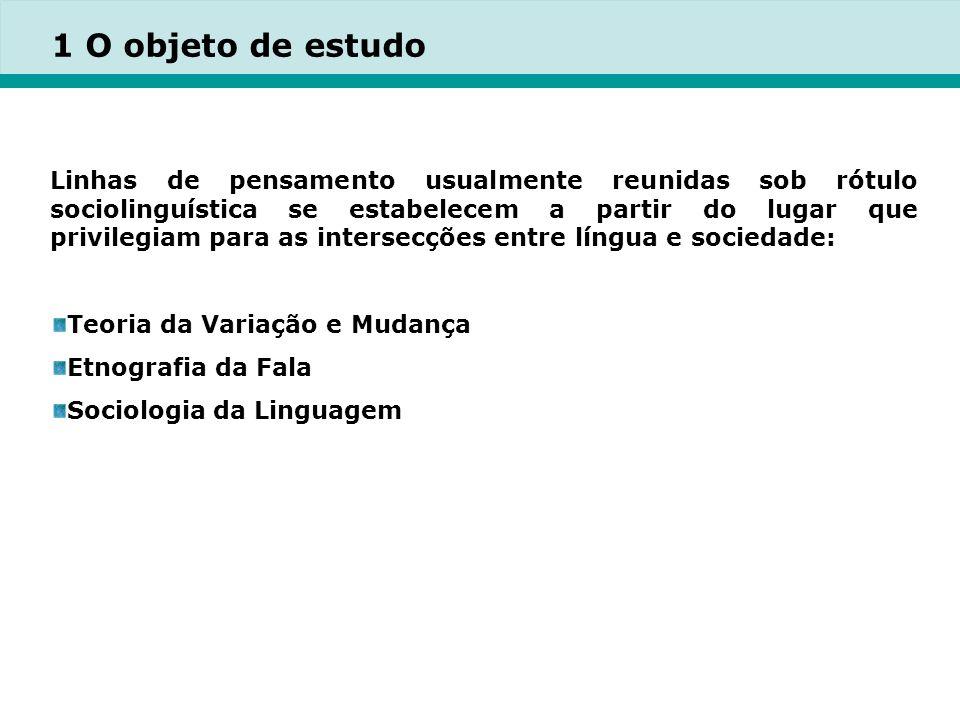 1 O objeto de estudo Linhas de pensamento usualmente reunidas sob rótulo sociolinguística se estabelecem a partir do lugar que privilegiam para as intersecções entre língua e sociedade: Teoria da Variação e Mudança Etnografia da Fala Sociologia da Linguagem