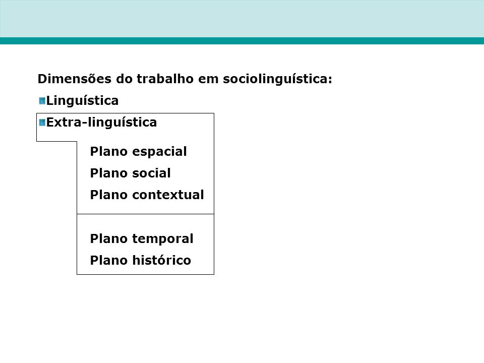 Dimensões do trabalho em sociolinguística: Linguística Extra-linguística Plano espacial Plano social Plano contextual Plano temporal Plano histórico