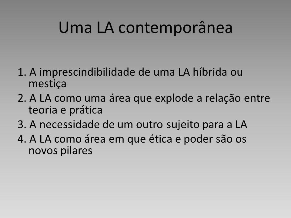 Uma LA contemporânea 1. A imprescindibilidade de uma LA híbrida ou mestiça 2. A LA como uma área que explode a relação entre teoria e prática 3. A nec