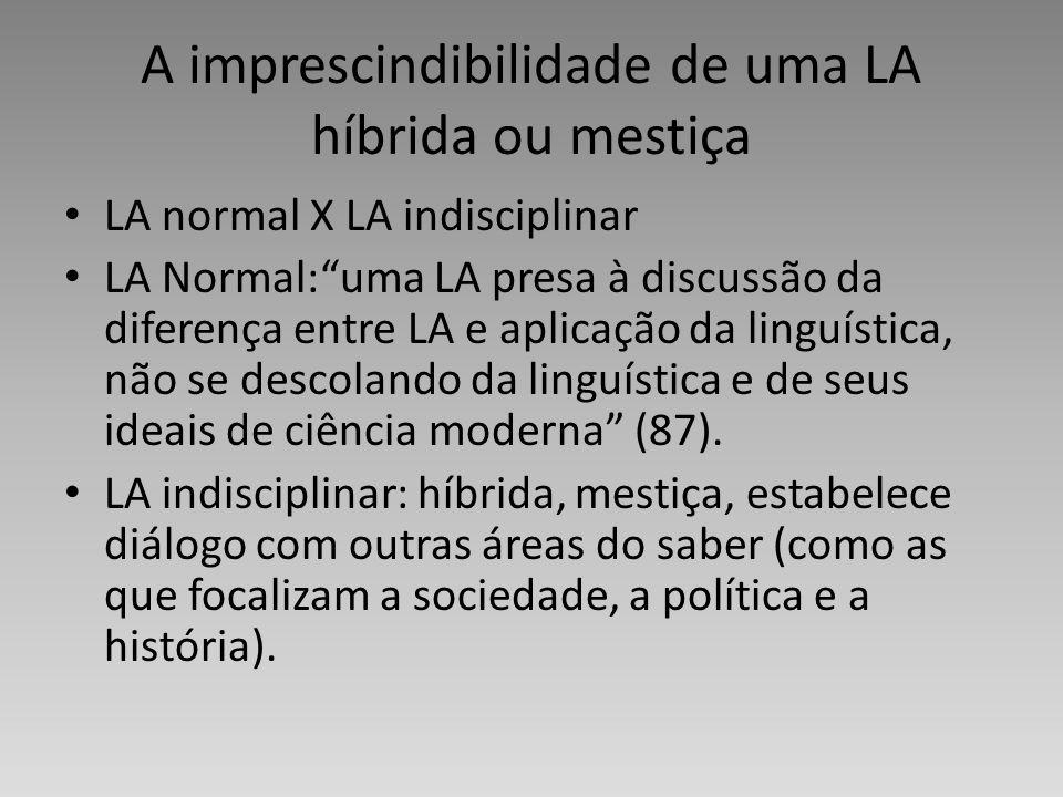 A imprescindibilidade de uma LA híbrida ou mestiça LA normal X LA indisciplinar LA Normal:uma LA presa à discussão da diferença entre LA e aplicação d