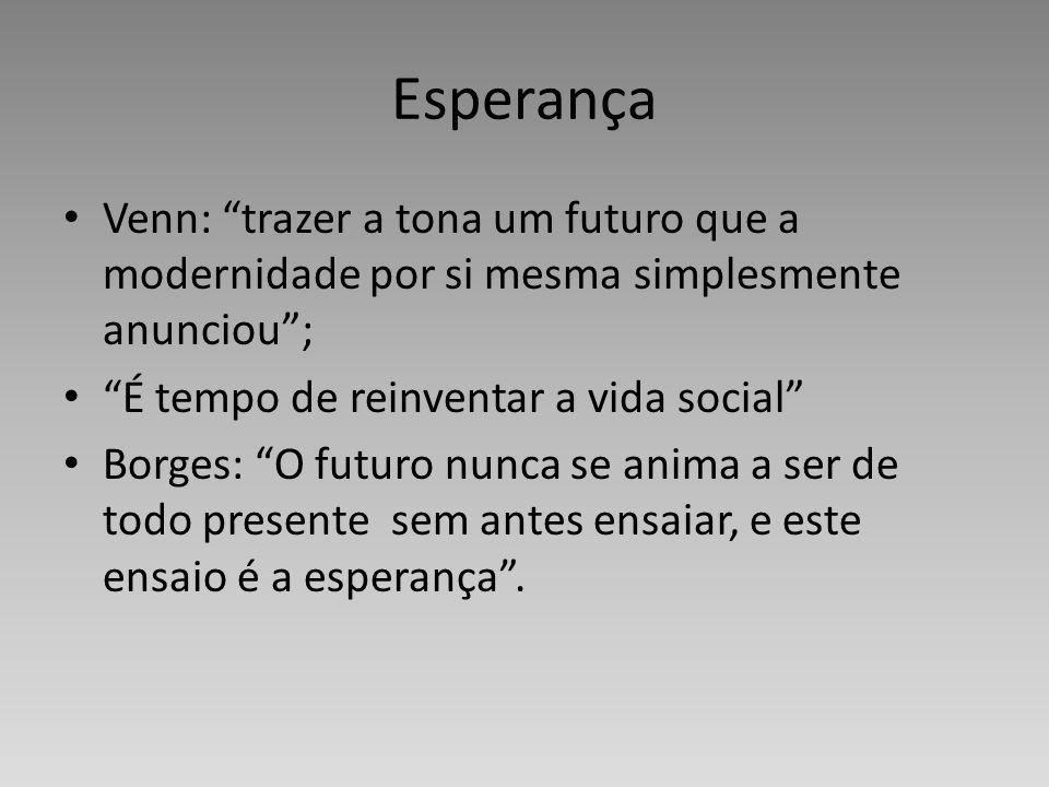 Esperança Venn: trazer a tona um futuro que a modernidade por si mesma simplesmente anunciou; É tempo de reinventar a vida social Borges: O futuro nun