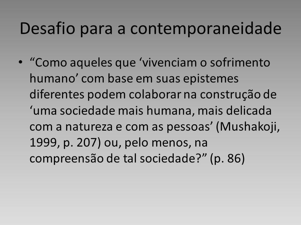 Desafio para a contemporaneidade Como aqueles que vivenciam o sofrimento humano com base em suas epistemes diferentes podem colaborar na construção de