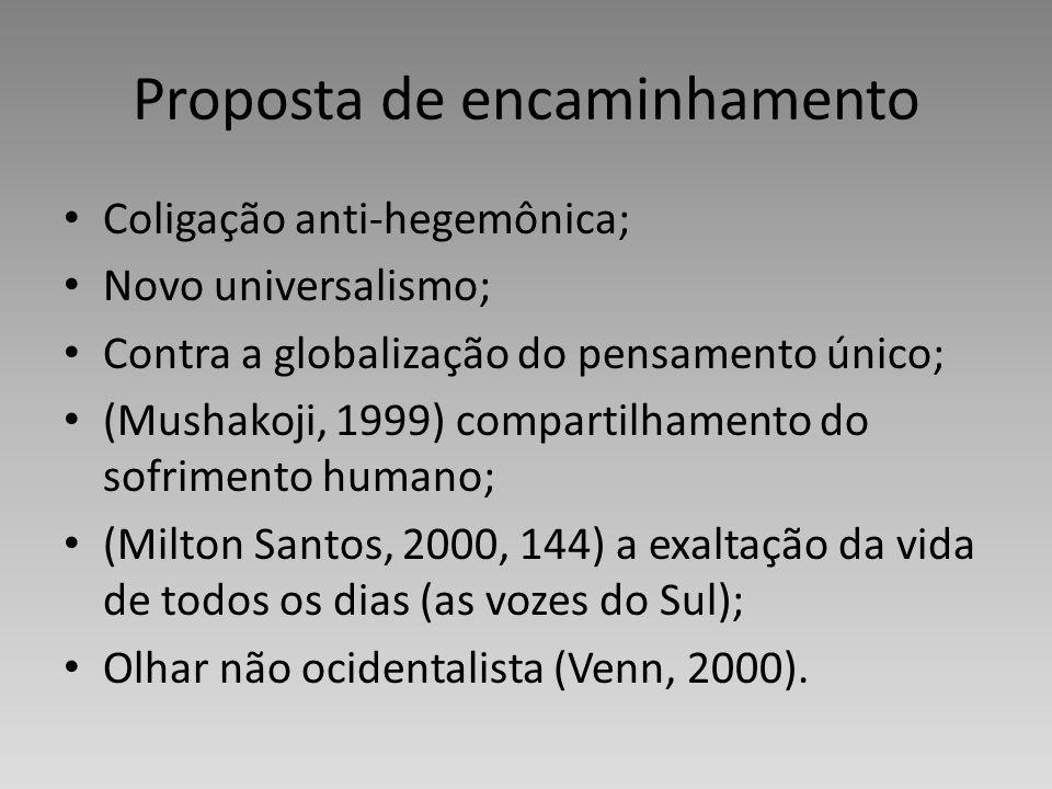 Proposta de encaminhamento Coligação anti-hegemônica; Novo universalismo; Contra a globalização do pensamento único; (Mushakoji, 1999) compartilhament