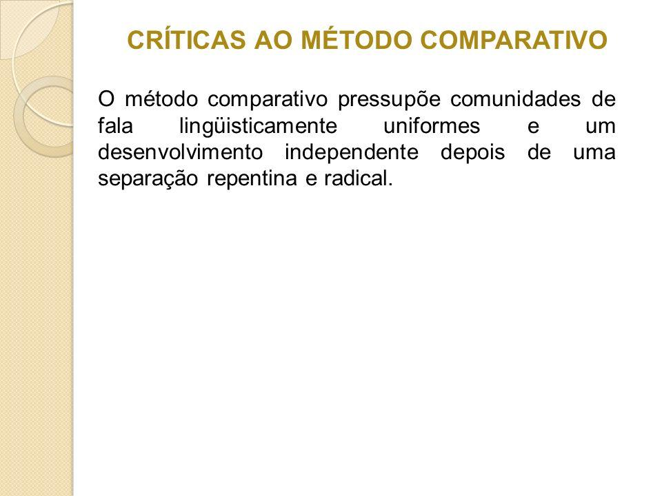 CRÍTICAS AO MÉTODO COMPARATIVO O método comparativo pressupõe comunidades de fala lingüisticamente uniformes e um desenvolvimento independente depois