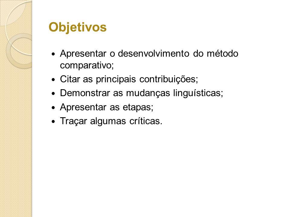 Objetivos Apresentar o desenvolvimento do método comparativo; Citar as principais contribuições; Demonstrar as mudanças linguísticas; Apresentar as et