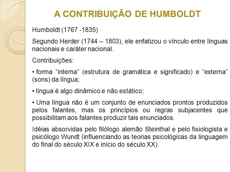 A CONTRIBUIÇÃO DE HUMBOLDT Humboldt (1767 -1835) Segundo Herder (1744 – 1803), ele enfatizou o vínculo entre línguas nacionais e caráter nacional. Con