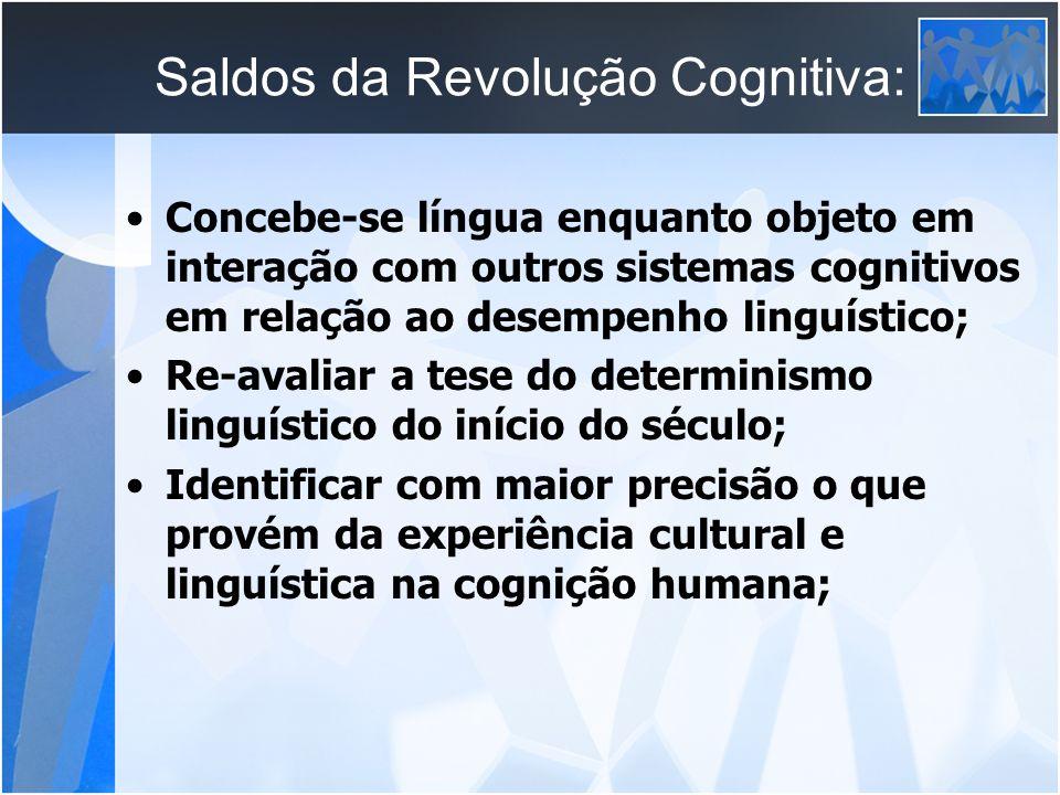 Saldos da Revolução Cognitiva: Concebe-se língua enquanto objeto em interação com outros sistemas cognitivos em relação ao desempenho linguístico; Re-