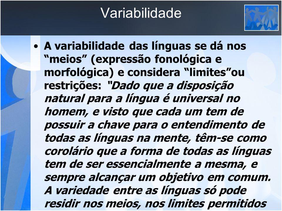 Variabilidade A variabilidade das línguas se dá nos meios (expressão fonológica e morfológica) e considera limitesou restrições: Dado que a disposição