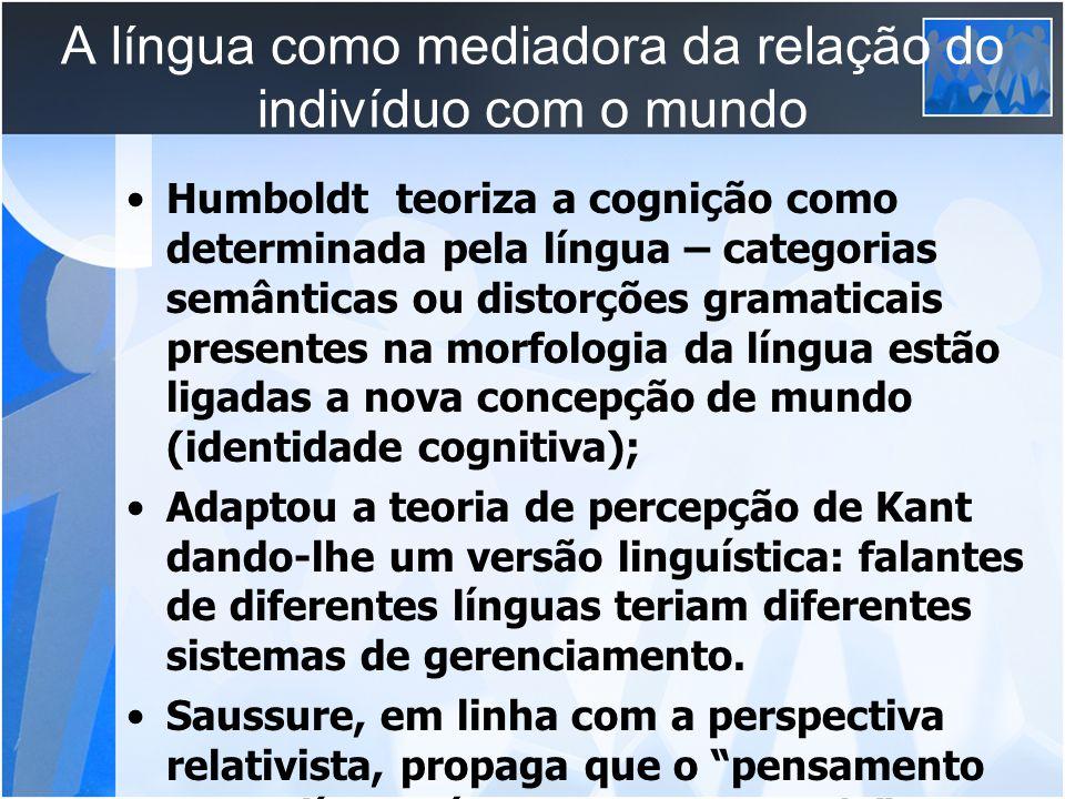 A língua como mediadora da relação do indivíduo com o mundo Humboldt teoriza a cognição como determinada pela língua – categorias semânticas ou distor