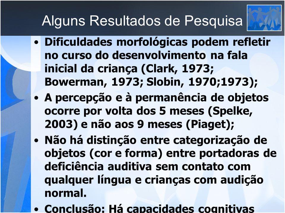 Alguns Resultados de Pesquisa Dificuldades morfológicas podem refletir no curso do desenvolvimento na fala inicial da criança (Clark, 1973; Bowerman,