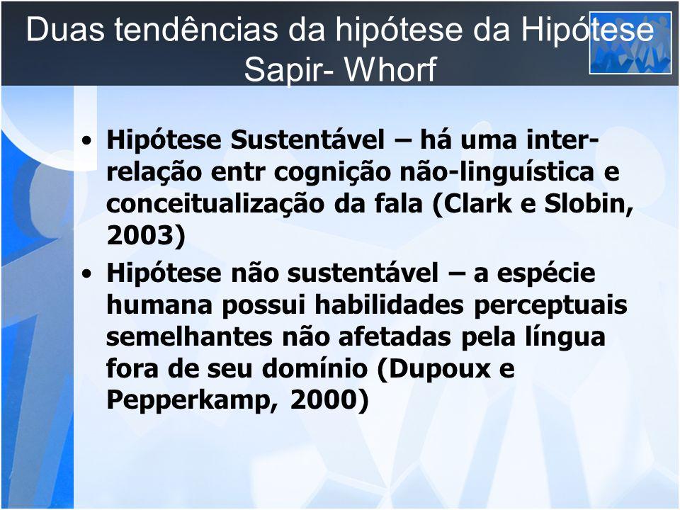 Duas tendências da hipótese da Hipótese Sapir- Whorf Hipótese Sustentável – há uma inter- relação entr cognição não-linguística e conceitualização da