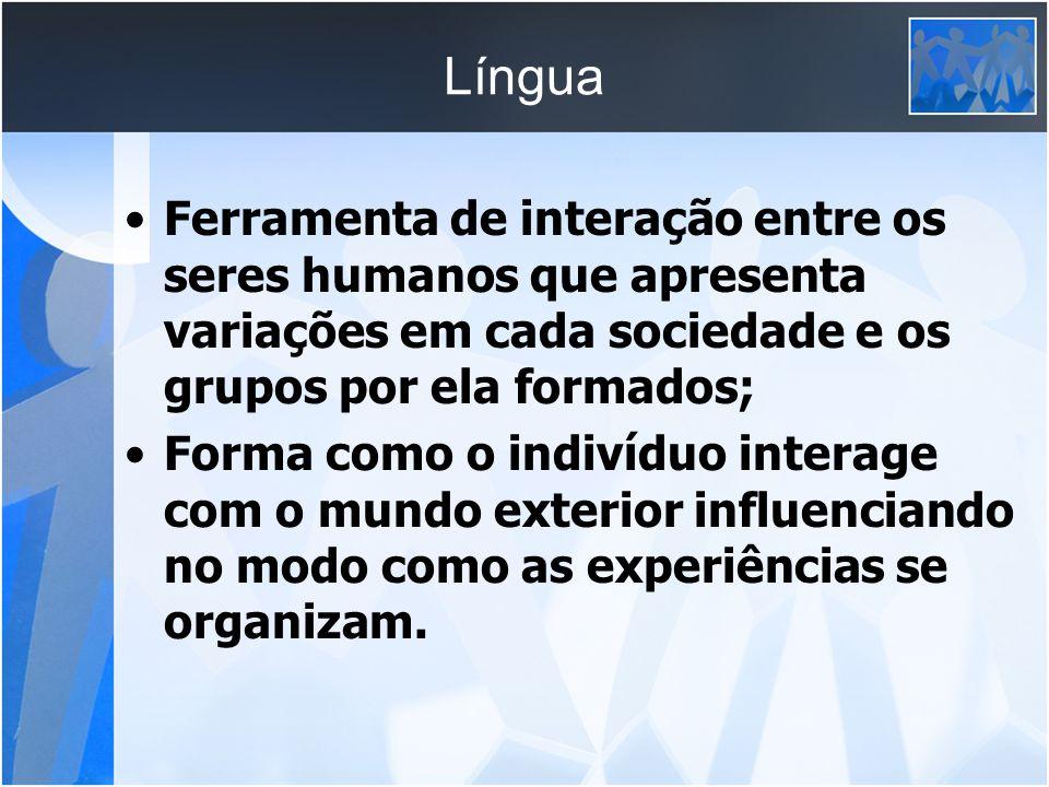 Língua Ferramenta de interação entre os seres humanos que apresenta variações em cada sociedade e os grupos por ela formados; Forma como o indivíduo i