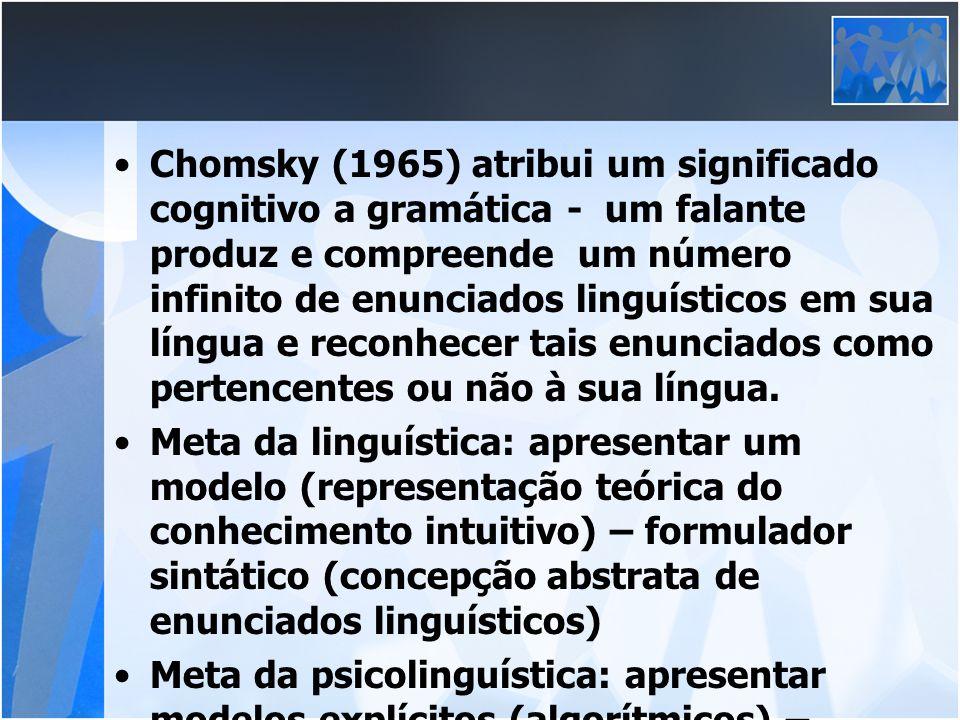 Chomsky (1965) atribui um significado cognitivo a gramática - um falante produz e compreende um número infinito de enunciados linguísticos em sua líng