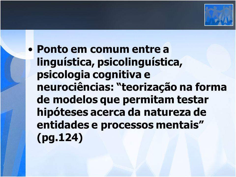 Ponto em comum entre a linguística, psicolinguística, psicologia cognitiva e neurociências: teorização na forma de modelos que permitam testar hipótes