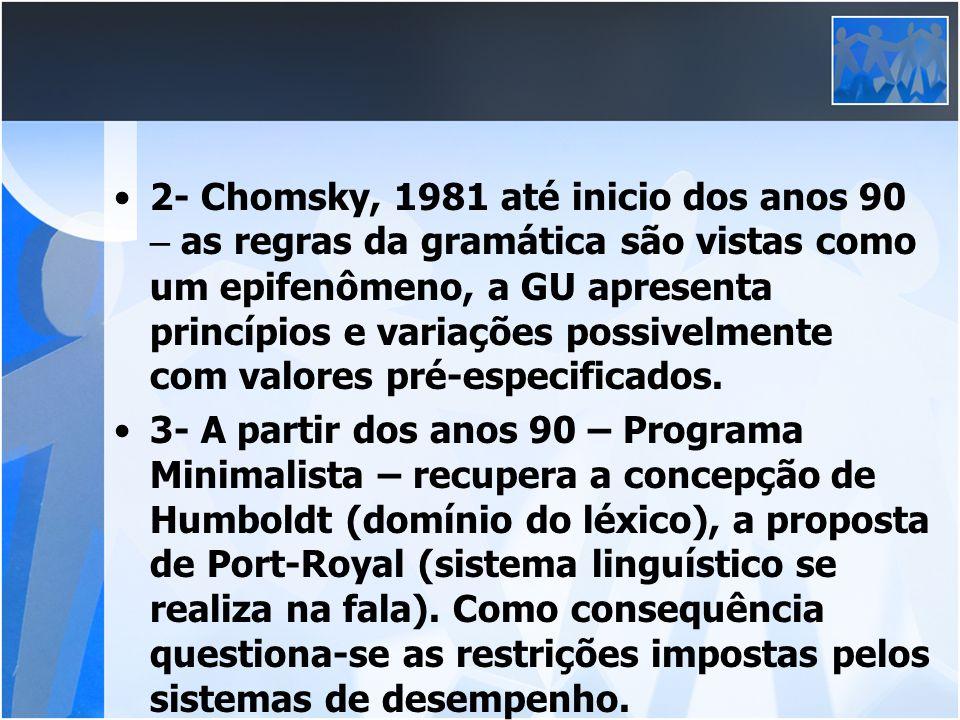 2- Chomsky, 1981 até inicio dos anos 90 – as regras da gramática são vistas como um epifenômeno, a GU apresenta princípios e variações possivelmente c